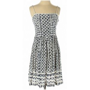 EDUN Designer 100% Silk Sundress White Blue 4